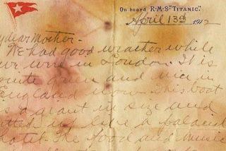 Sale a subasta una de las últimas cartas escritas en el Titanic, que sobrevivió al naufragio
