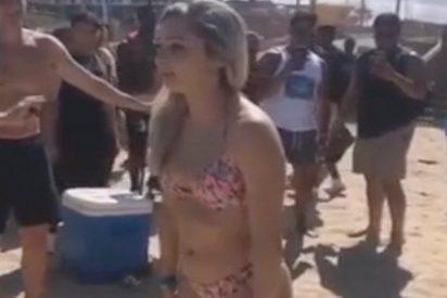 """Esta imprudente muchacha intenta """"un mortal"""" en bikini y pasa esto…"""