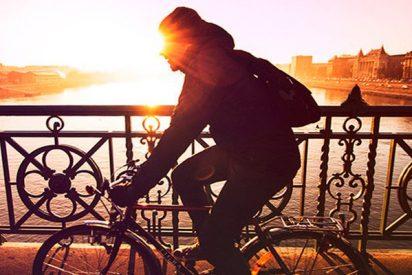 Este ciclista cae desde un puente en Santiago de Chile por curiosear más de la cuenta