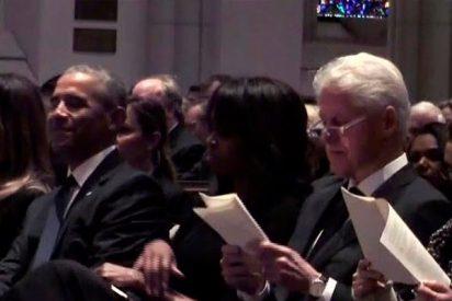 Los Obama y los Clinton coinciden con Melania Trump en el funeral de Barbara Bush