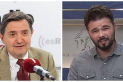 Rufián, el bufón separatista de Twitter, exige cárcel para Jiménez Losantos y se lleva un zasca de mucho cuidado