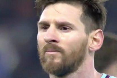 La cara de Messi resume la eliminación del Barça