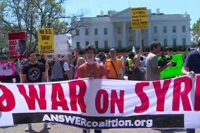 'No a la guerra': Muchos estadounidenses se manifiestan contra los bombardeos a Siria
