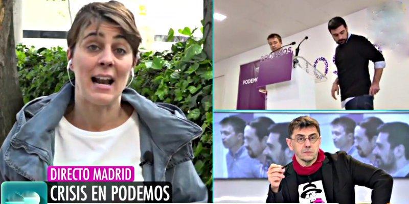 'Telecinco': La portavoz de Podemos 'dimite' en directo y deja helado al chavista Monedero
