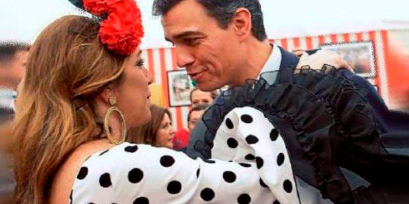 """La sevillana con menos salero de la historia, la """"bailan"""" Pedro Sánchez y Susana Díaz"""