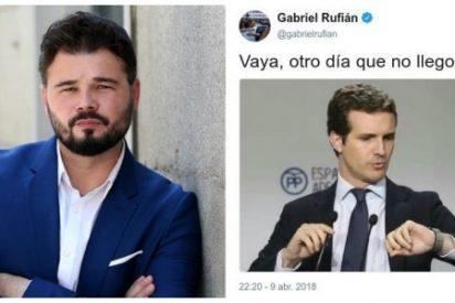 Rufián plagia un tuit para atacar a Pablo Casado por su máster y queda retratado