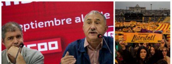 ¡Qué parásitos! UGT y CCOO se suicidan uniéndose a la marcha en favor de los golpistas catalanes