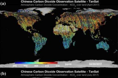 Emisiones de CO2 antropogénico evidentes en mapas de satélite