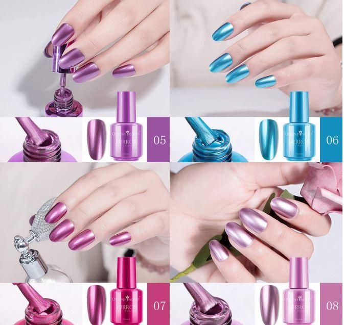 esmaltes de uñas tonos metalicos o espejo