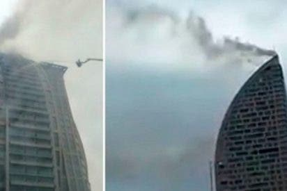 Brutal incendio en la torre Trump de Bakú