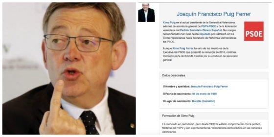 El socialista Ximo Puig se marca un 'Cifuentes' y pone en su currículum oficial una falsa titulación en periodismo