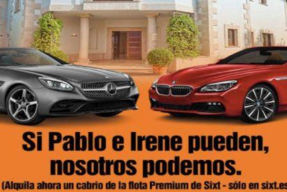 """La publicidad de una empresa de alquiler de coches: """"Si Pablo e Irene pueden, nosotros podemos"""""""