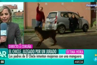 Así reciben los padres de 'El Chicle' a un equipo de Ana Rosa: con perros y a manguerazo limpio