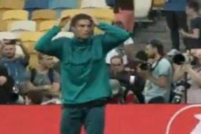 Cristiano le parte la ceja a un cámara de un balonazo mientras entrenaba