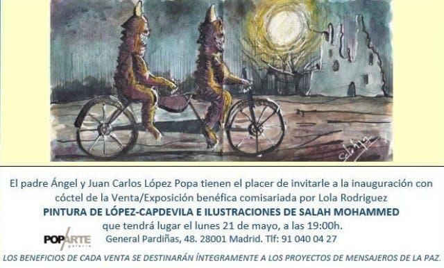 El padre Ángel inaugura una exposición benéfica en POPARTE galería