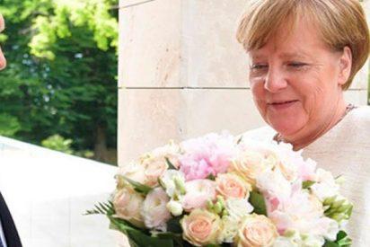 Putin recibe a Merkel con un ramo de flores
