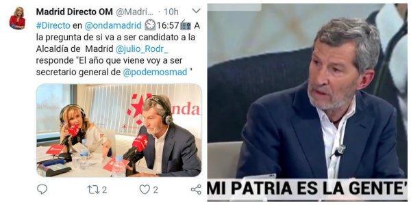 Un monográfico de Podemos en Telemadrid con Julio Rodríguez haciendo doblete indigna a los trabajadores