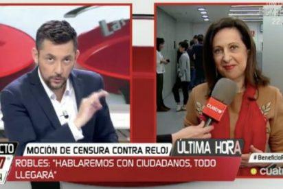 Javier Ruiz le hace la agenda a Margarita Robles en Cuatro y recibe un corte antológico