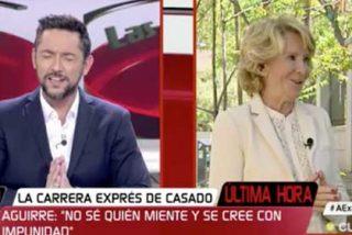 Esperanza Aguirre ve venir la encerrona de Javier Ruiz y como no se presta al show, la cosa acaba en una bronca total entre ambos