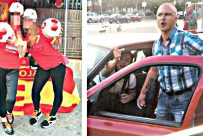 Brutal: separatistas catalanes patean a dos chicas que apoyaban a la Selección española de fútbol