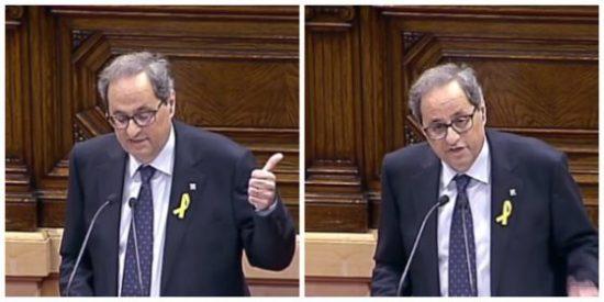 """'La Torra' victimista del candidato a la Generalitat: """"No hay democracia, aquí debía estar Puigdemont"""""""