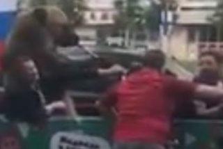 Este oso tocando la trompeta en un coche sorprende a los hinchas en el centro de Moscú