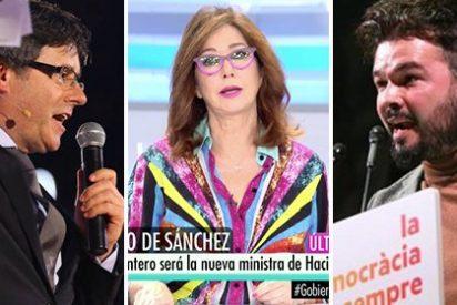 Ana Rosa celebra el ministerio de Borrell viendo lo rabiosos que se han puesto Puigdemont y Rufián