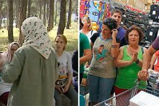 El 'asaltante' de las cajeras del Mercadona ahora va de puro sacándose la foto con las recolectoras de la fresa