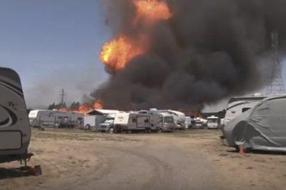 Hombre casi muere al grabar esta brutal explosión de un tanque de propano