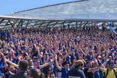 Los hinchas de Islandia animan a su selección horas antes de su debut ante la selección argentina