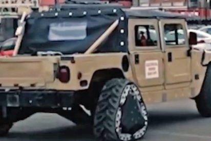 Así es el vehículo militar Humvee con ruedas triangulares que se transforman en plena marcha