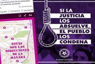 Difunden las direcciones de La Manada y la Juventud Comunista propone colgarlos