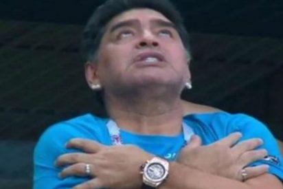 Maradona, parecía poseído tras el gol de Messi