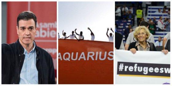Solo te falta el 'Welcome refugees': Sánchez se 'carmeniza' y ofrece España a los refugiados del 'Aquarius'
