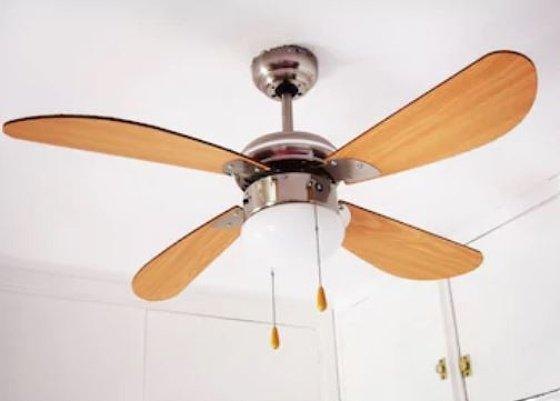 ventilador de techo cuatro aspas de madera