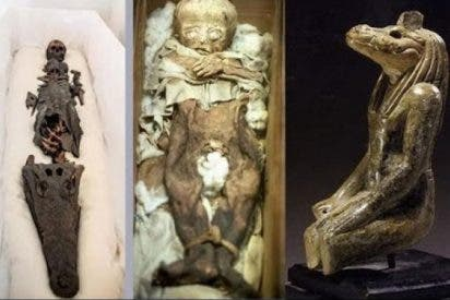 La inquietante momia bicéfala con cabeza de niña y de cocodrilo