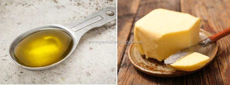 aceite o mantequilla en la cocina