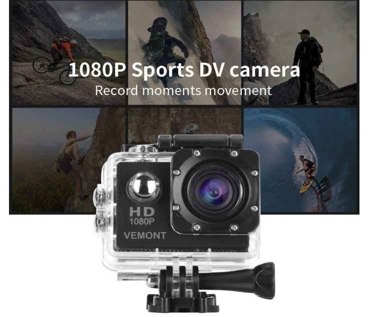 VEMONT Cámara Deportiva 1080P HD Impermeable 3