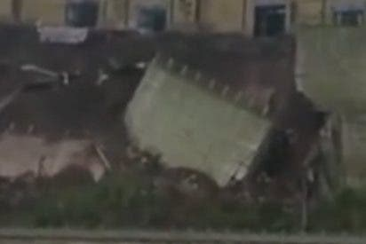 Impresionante derrumbe de esta carretera en China