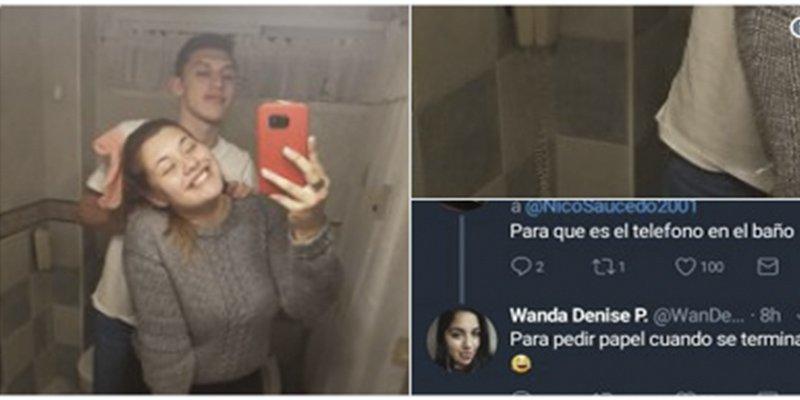 El selfie de esta pareja en el cuarto de baño se ha convertido en viral por el detalle que aparece detrás