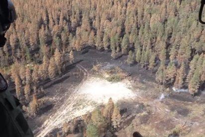 Así lanzan las fuerzas aéreas de Suecia una bomba sobre incendio forestal para apagar el fuego