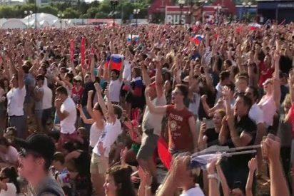 Así celebraron los aficionados rusos los goles de su selección a España