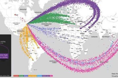 Este es el gigantesco y horrible mapa de flujo de la venta de armas de EE.UU. al mundo en 6 décadas