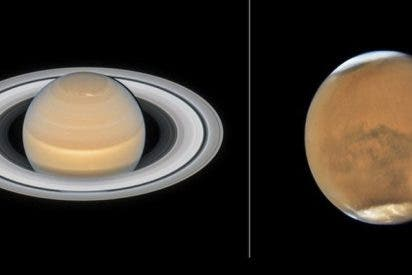 Así son nuevas 'fotos de familia' de Marte y Saturno obtenidas por Hubble