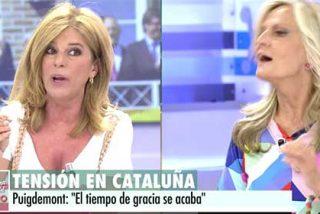 Esther Palomera e Isabel San Sebastián acaban a gritos y tirándose los muebles a la cabeza en directo: