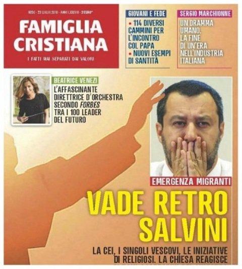 'Vade retro, Salvini': Famiglia Cristiana, contra las políticas anti-inmigrantes del Gobierno italiano