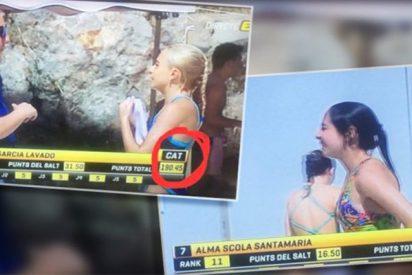Los mamarrachos de TV3 diferencinan entre catalanes y españoles en el trofeo internacional de salto de trampolín