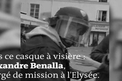 Identifican a este responsable de seguridad de Macron golpeando a un manifestante indefenso en el suelo