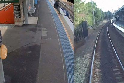 Salvan a este hombre de las vías justo antes de que llegue el tren