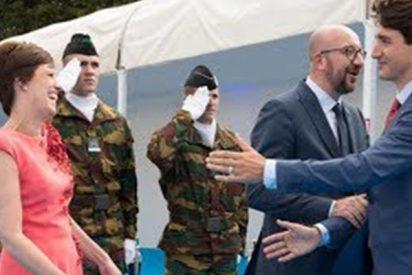 Trudeau ignora a su homólogo belga y se lanza a besar a su pareja